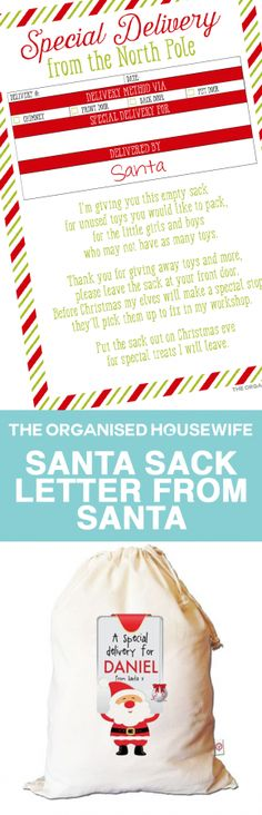 Start a tradition of using Santa sacks at Christmas. Use this letter from Santa to explain to the kids how to use the Santa Sack and read further for tips on how to use the sack on Christmas eve.