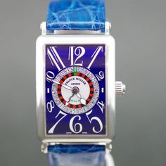 【中古】FRANCK MULLER(フランクミュラー) 1250 VEGAS ロングアイランドヴェガス オートマチック ブルー文字盤時計/リューズについてあるプッシュボタンを押すだけでルーレットがクルクルと回ります。/専門鑑定士があなたの商品を高額査定!全国どこでも自宅にいながら申込から買取まで完了します♪