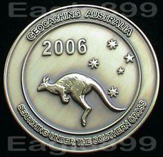 2006-Australia-Geocoin-Antiuqe-Gold-Bronze-Finish-Kangaroo-Unactivated-RARE