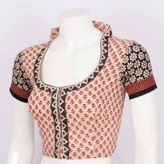 Hand Block Printed Cotton Blouse 10010171 - Size 36 - AVISHYA.COM