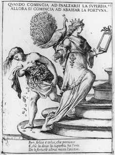 A Vain Woman Ascends a Staircase as Fortuna Descends It
