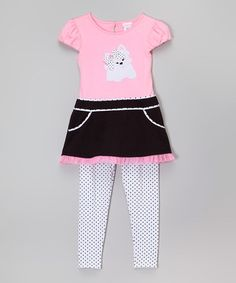 http://www.zulily.com/invite/kripley070 This Black & Pink Puppy Tunic & Pants - Infant, Toddler & Girls is perfect! #zulilyfinds