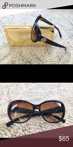 Tory Burch Retro Sunglasses Retro silhouette defines impeccably chic full-coverage sunglasses finished with logo-etched temples. 100% UV protection. Tortoise-colored frames made from lightweight yet durable acetate. Tory Burch Accessories Sunglasses