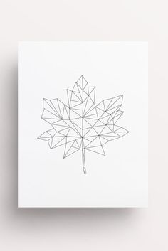 Maple Leaf Maple Leaf Print Leaf Print by FleurtCollective on Etsy Maple Leaf Geometric Drawing, Geometric Flower, Geometric Lines, Geometric Designs, Geometric Tattoo Leaf, Canada Tattoo, Bullet Journal Inspiration, Leaf Prints, String Art