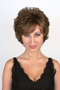 Our Sunset short wig is flippy, flirty, and fun! Shown in Marble Brown this synthetic wig is lightweight and airy with gorgeous tousled layers. Short Wig Styles, Short Wigs, Short Hair, Real Wigs, Light Blonde Highlights, High Quality Wigs, Hair Styles 2016, Brunette Beauty, Synthetic Wigs