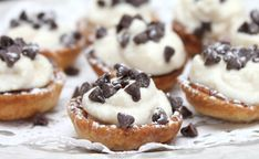 Recipe, grocery list, and nutrition info for Mini Cannoli Cream Pastry Cups. Get the great taste of homemade cannolis at home with these Mini Cannoli Cream Pastry Cups. Köstliche Desserts, Delicious Desserts, Dessert Recipes, Yummy Food, Spanish Desserts, Pastries Recipes, Unique Desserts, Picnic Recipes, Italian Pastries