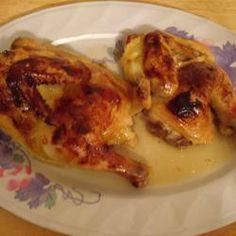 Made this for our Annual Christmas Eve dinner: Honey Orange Cornish Hens Recipe - Allrecipes.com