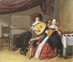 Jan Miense Molenaer (Dutch, 1610 -1668) ~ The Duet ~ Jan Miense Molenaer, was a Dutch Golden Age genre painter whose style was a precursor to Jan Steen's work during Dutch Golden Age painting.