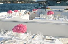 Pink and white theme on a luxury boat wedding at Bosphorus Boat Wedding, Yacht Wedding, Wedding Venues, Table Decorations, Luxury, Pink, Istanbul, Boats, Home Decor