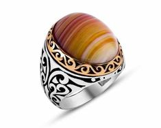 Men Ring, Men's Ring, Natural Stone, Ring, Agate, Silver Ring, Sterling Silver