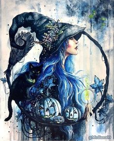 Besenstiel-Hexen - Art and inspiration - halloween art Witch Painting, Witch Art, Fantasy Witch, Fantasy Art, Wal Art, Witch Tattoo, Beautiful Witch, Witch Aesthetic, Fairy Art