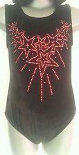 Girls 6-7 Red Rhinestone Star leotard disco/gymnastics/dance/practice