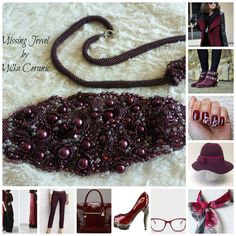 burgundy fall fashion trend - seed bead embroidery bracelet necklace cardigan shoes bag eye glasses coat nail polish silk scarf pants