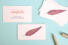 feather-business-cards-diy