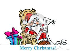 Christmas Santa Claus throne gifts list cartoon illustration isolated image character