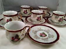 Vintage China Tea Set 6 Cups Saucers Royal Japan Colonial Gold Lusterware RCJ16