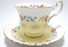 This lovely china cup and saucer are marked Royal Albert Bone China - Made in England with the marking on the teacup 4476. The teacup has pink and