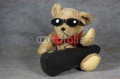 Teddybär mit Sonnenbrille und Geigenkasten