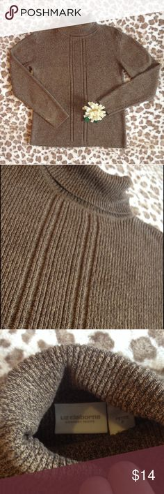 Taupe Turtleneck Long Sleeve Top Petite Brown/taupe in color great turtleneck by Liz Claiborne. Size petite similar to small 💕 Sweaters Cowl & Turtlenecks