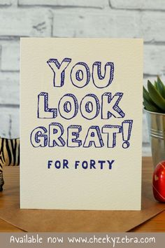 This funny 40th birthday card is hilarious and the perfect gift for the men in your life turning 40 be it your husband, brother, friend, dad or boyfriend. Available now from www.cheekyzebra.com or our Etsy store CheekyZebraCardShop. #40thbirthdaycard #40thcard #40thgift #funny40thbirthdaycard Best Friend Birthday Cards, Best Friend Cards, Sister Birthday, Best Friend Gifts, Birthday Puns, 40th Birthday Cards, Handmade Birthday Cards, Turning 40, Kraft Envelopes