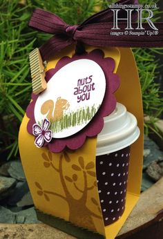 Helen's cute mini coffee cup: Nuts About You (hostess), Something to Say, Blackberry Bliss dsp, Scalloped Tag Topper punch, Itty Bitty Accents flower punch, & more. All supplies from Stampin' Up!