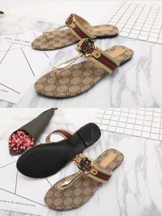 58c9c64a4f1248 Sandals and Flip Flops 62107  New Gg Gucci Women S Logo Sandals Khaki Color Us  Size 9 -  BUY IT NOW ONLY   65 on eBay!