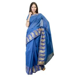 Blue Zari Work Chanderi Cotton Silk Saree #indianroots #saree #chanderi #silk #cotton #zariwork #summerwear #eveningwear #partywear