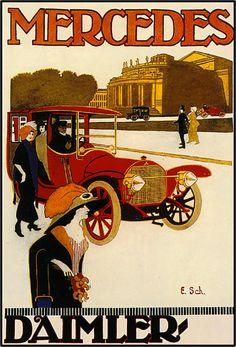 Mercedes Automobile Car Advertisement Art Poster