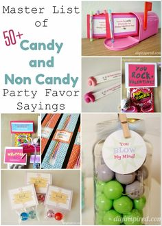 Over 50 Candy and Non Candy Sayings for Party Favors