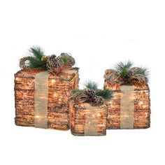 Holiday Living 3-Piece Grapvine Gift Boxes Outdoor Christmas Decoration Set | Lowe's Canada