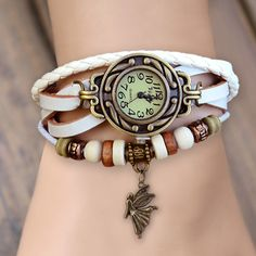 Super excellent vintage design women's weave leather bracelet wrist watch,with fly angel pendant,we have seven colors to meet your dresses,it is a good choice for gift or decoration. Net Weight: 25g M