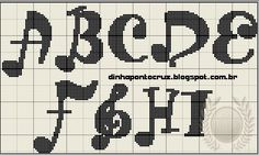 Cross Stitch Music, Cross Stitch Alphabet, Cross Stitch Designs, Cross Stitch Patterns, Alphabet Charts, Musical, Diy And Crafts, 1, Cross Stitch Letters