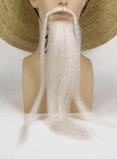 Fu Manchu Chinese Mustache Beard Kung Fu Man Chu White Glue   eBay