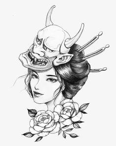 Geisha Tattoos, Geisha Tattoo Design, Japan Tattoo Design, Oni Mask Tattoo, Hannya Tattoo, Tattoo Girls, Girl Tattoos, Tatoos, Japanese Mask Tattoo
