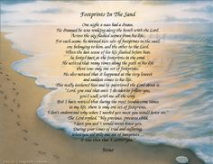 The Footprints in the Sand poem - Inspirational Print Ready to Frame Wall Plaque Gift idea Ocean Beach Scene - pinned by pin4etsy.com