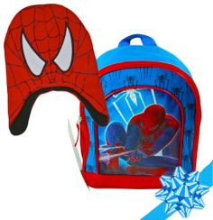 """Marvel Spiderman Boys Back Pack and Spiderman Hat Gift Set, Colors: Red and Blue, Best For Age: 3-6 years old by Marvel. $49.99. Perfect for Toys or School! This Super Cute Bag features Spiderman. The Spiderman Hat is Warm and Fun!. Comes with adjustable shoulder straps, zipper pull closure on the main compartment with micro silk printing. Size: 11"""" Mini Cute Spider-Man backpack for young children.. Perfect for Toys or School! This Super Cute Bag features Spiderman. The Spiderman..."""