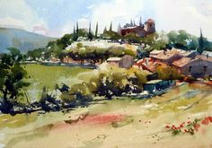 Watercolour of Tour Tour, Provence - Grahame Booth