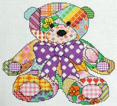 Cute Patchwork Teddy Bear Cross Stitch Pattern, Instant Download PDF Final stitch area is approx 7 x 7.5 inches. The key uses DMC threads. Either stitch it unisex as it is or maybe you would prefer to select your own traditional shades, its up to you! Full copyright is retained by the seller