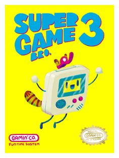 """Super Game Bro 3 (Inspired by NIntendo Game Boy / Super Mario Bros.)  Artist: Nate Bear  Format: Screen Print - 5 colors, incl. metallic Dimensions: 12"""" x 16"""" Paper: French Speckletone True White 100# Cover  Markings: Signed & Numbered  Edition Size: 30  Event: Guzu Gallery & Classic G..."""