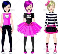 Three  Emo Style Girls  #GraphicRiver         Illustration of three Emo stile girls. EPS 8 (editable), JPG (high resolution)     Created: 30July13 GraphicsFilesIncluded: JPGImage #VectorEPS Layered: No MinimumAdobeCSVersion: CS Tags: beautiful #black #cartoon #casual #character #clipart #clip-art #cloth #collection #emo #fashion #female #girl #illustration #model #modern #pink #pretty #set #style #symbol #teenager #vector #wear #young #youth