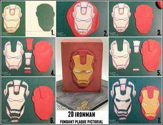 Iron Man mask pictorial Hiya everyone ! Ok, so a while ago I made an Iron Man cake (you can Fondant Man, Fondant Cakes, Marvel Cake, Marvel Avengers, Batman Cakes, Masque Iron Man, Iron Man Kuchen, Iron Man Party, Avengers Birthday Cakes