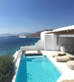 "Amazing luxurious seaside villa in Mykonos, Greece courtesy of Noa Taieb ━━━━━━━━━━━ ""Dream Big, Eat Well & Travel On"" ━━━━━━━━━━━ Cavo Tagoo Mykonos, Mykonos Villas, Mykonos Hotels, Mykonos Resort, Beautiful Pools, Beautiful Places, Pool Bad, Myconos, Dream Pools"