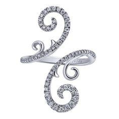 18k White Gold Diamond Fashion Ladies' Ring | Gabriel & Co NY | LR50707W84JJ