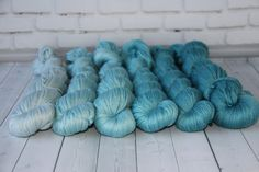 hand dyed yarn, gradient yarn, Cashmere / Silk- 765 yards/700 meters, gradient dusty turquoise/340 grams by PositiveCreative on Etsy