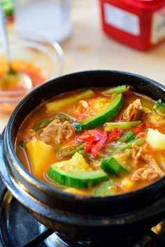 Gochujang Jjigae (Gochujang Stew with Zucchini) Asian Recipes, Healthy Recipes, Ethnic Recipes, Asian Foods, Healthy Meals, Healthy Food, Gochujang Recipe, Spicy Stew, South Korean Food