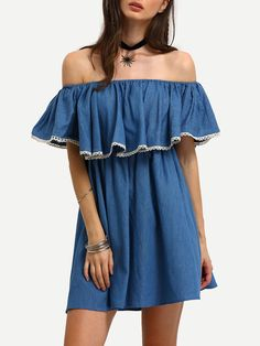 Shop Demin Blue Off The Shoulder Ruffle Swing Dress online. SheIn offers Demin Blue Off The Shoulder Ruffle Swing Dress & more to fit your fashionable needs.