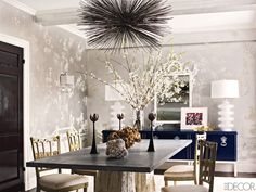 Elle Decor - December 2011 - Ashley Stark's spirited Manhattan apartment - ♥ navy buffet, mirror, wallpaper