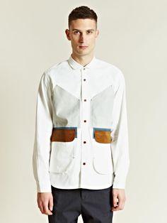 junya watanabe men's cotton twill multi-panel jacket