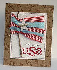 patriotic card - love the ribbon flag