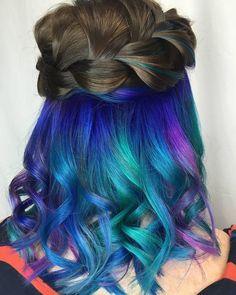Mermaids under hair dye, under hair color, c Under Hair Color, Hidden Hair Color, Pastel Ombre, Dyed Hair Pastel, Peekaboo Hair, Peekaboo Highlights, Purple Highlights, Hair Highlights, Hidden Rainbow Hair